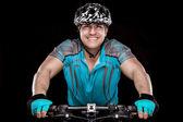 Młody mężczyzna rowerzysta z jego rower — Zdjęcie stockowe