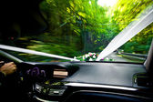 Wedding Car is driving on a road — Stock Photo
