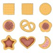 Set of few different tasty cookies — Stockvektor