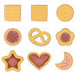Set of few different tasty cookies — Stock vektor