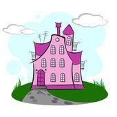 Pink Cartoon House. — Stock Vector