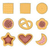 Set of few different tasty cookies — Stock Vector