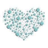 Blue water drops heart — Stock Vector