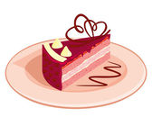 Piece of cake on a plate — Stock Vector