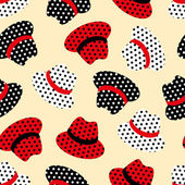 Seamless pattern with red, white and black hats — Cтоковый вектор