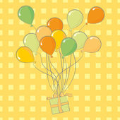 Birthday balloons and present. — Stockvector