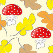 Seamless pattern with red toadstool mushroom and leafs — Stock Vector