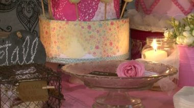 Biscuits Flowers and Candles 2 — Stock Video
