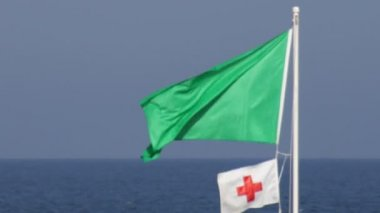 Green Warning Flag 03 — Stock video