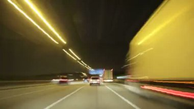 Road Rage Night Highway Camera Car High Speed — Stock Video
