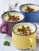 Potato cream soup with wild mushrooms — Stock Photo