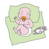Bebê dormindo com um coelho de brinquedo — Vetor de Stock