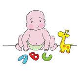 Děťátko hrát s hračkami — Stock vektor