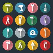 Platte werkende hulpmiddelen pictogrammen — Stockvector