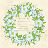 Floral greeting card with anemones — Vecteur