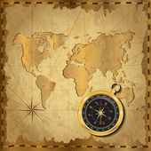 Gold compass on vintage map — Stock Vector
