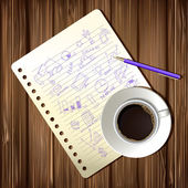 Coffee cup and drawing business strategy plan — Vetorial Stock