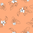 Beautiful seamless pattern with apple blossoms and leaves. — Stock vektor