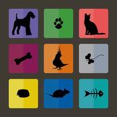 Ветеринарные иконки с домашними животными. — Cтоковый вектор