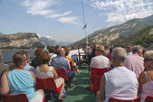 On The ferry on Lake Garda in the Italian lakes in Northern Italy — Stock Photo
