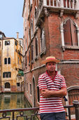 Gondoliers awaiting their rides in Venice known as La Serenissima in Northern Italy is a magical place — Stock Photo