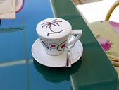 Flamboyant cup of Coffee in Cavtat Croatia — Stock Photo