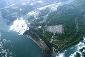 This is a view from a helicopter ride over the Niagara falls and the river rapids — Stock Photo