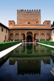 The Court of Myrtles in the Alhambra Palace in Granada Spain — Stock Photo