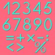 Set of numbers and mathematical symbols — Stock Vector