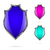 Set of bright colored shields for your design which is placed on a white background. — Stock Vector