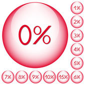 Set of icons with percent for your design — Stock Vector