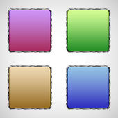 Set of glass buttons with metal edging for your design — Stock Vector