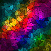 Abstract geometrical multicolored background consisting of bright triangular elements arranged on a black background — Stock Vector