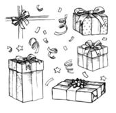 Hand drawn Christmas card with gift boxes. Line art — Vector de stock