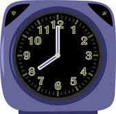 Modern violet alarm clock — Stock Vector