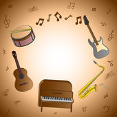 Card with musical instruments — Stock Vector