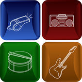 Convex icons - buttons in modern style with the image of musical instruments and the equipment — Stock Vector