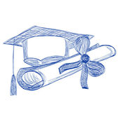 Graduate cap and diploma contour style ballpoint pen — Stock Vector