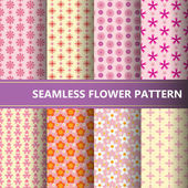 Seamless flower pattern collection. — Vettoriale Stock