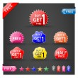 Buy one get one free, promotional sale labels set. — Stock Vector #49275899