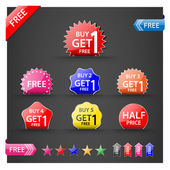 Buy one get one free, promotional sale labels set. — Stock Vector