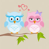 Couple of owls in love — Stock Vector