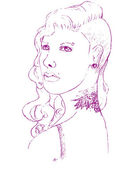Young woman with piercing and tattoo — Stockvektor