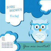 Baby shower card design with owl — Stock Vector