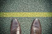 Road concept - yellow line — Stockfoto