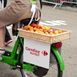 MULHOUSE - FRANCE - 13 th July 2014 - tour de France - carrefour market advertising — Stock Photo