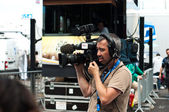 MULHOUSE - FRANCE - 13 th July 2014 - tour de France - cameraman — Stock Photo