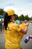 MULHOUSE - FRANCE - 13 th July 2014 - tour de France - lcl advertising — Stock Photo