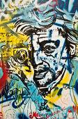 Paris - France - December  2013 - urban art - Serge Gainsbourg face — Stock Photo