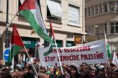 мюлуз - франция - 2 августа 2014 - демонстрация за мир между израилем и палестиной, против израильских бомбардировок в секторе газа — Стоковое фото